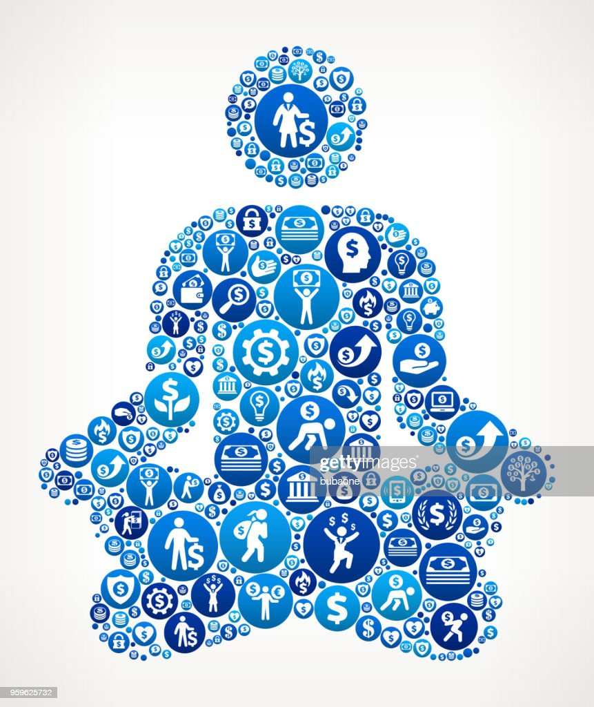 Meditation Geld blaues Symbol Muster Hintergrund : Stock-Illustration
