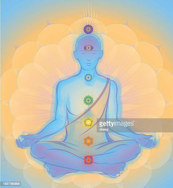 meditation monk - chakra stock illustrations, clip art, cartoons, & icons
