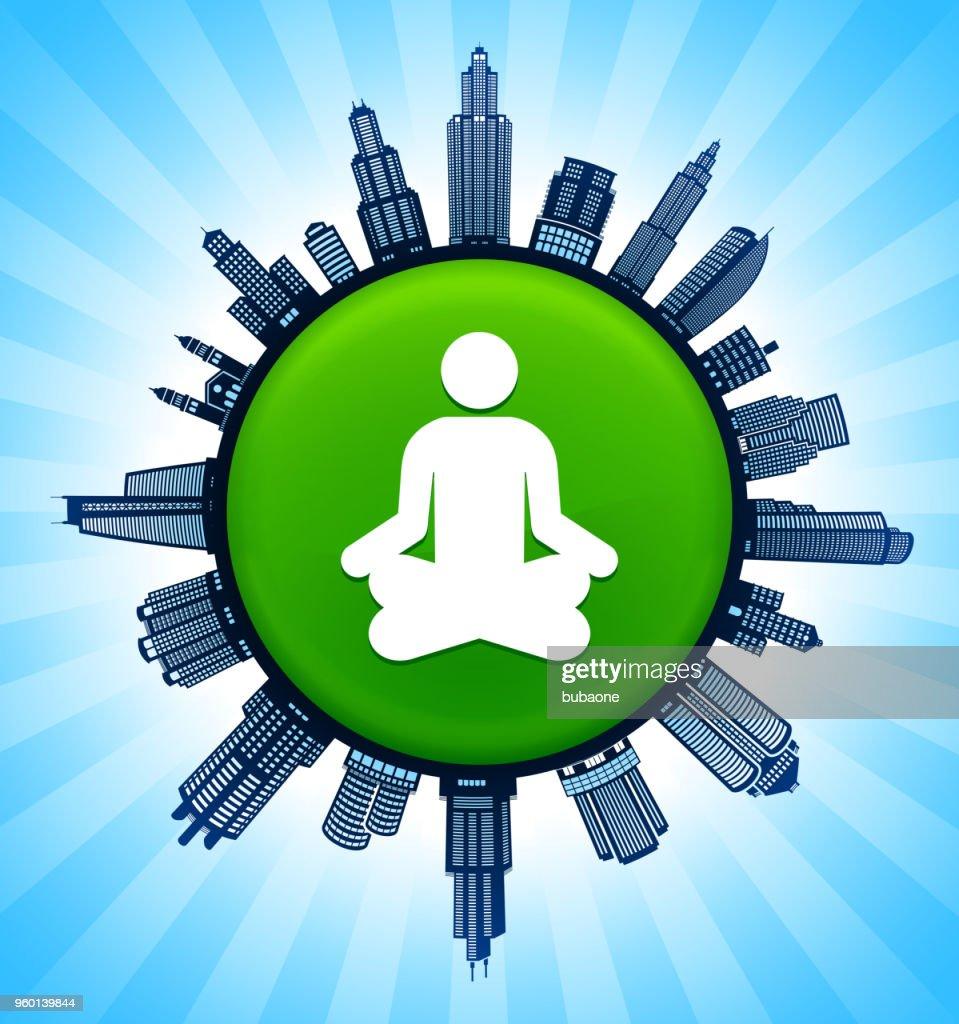Meditation auf modernen Stadtbild Skyline Hintergrund : Stock-Illustration