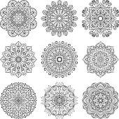 Meditation pattern. Vector illustration of indian mandalas set isolated. Yoga concept
