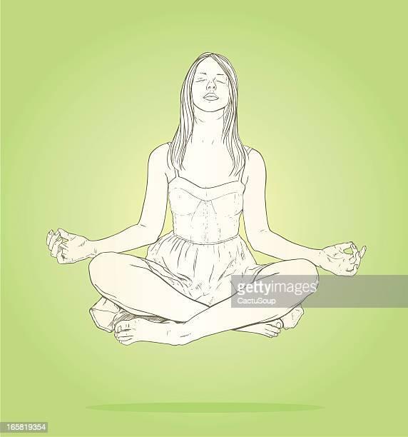 meditation - inhaling stock illustrations