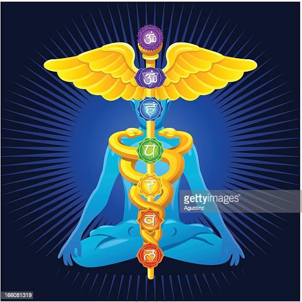 Meditation with caduceus and chakras