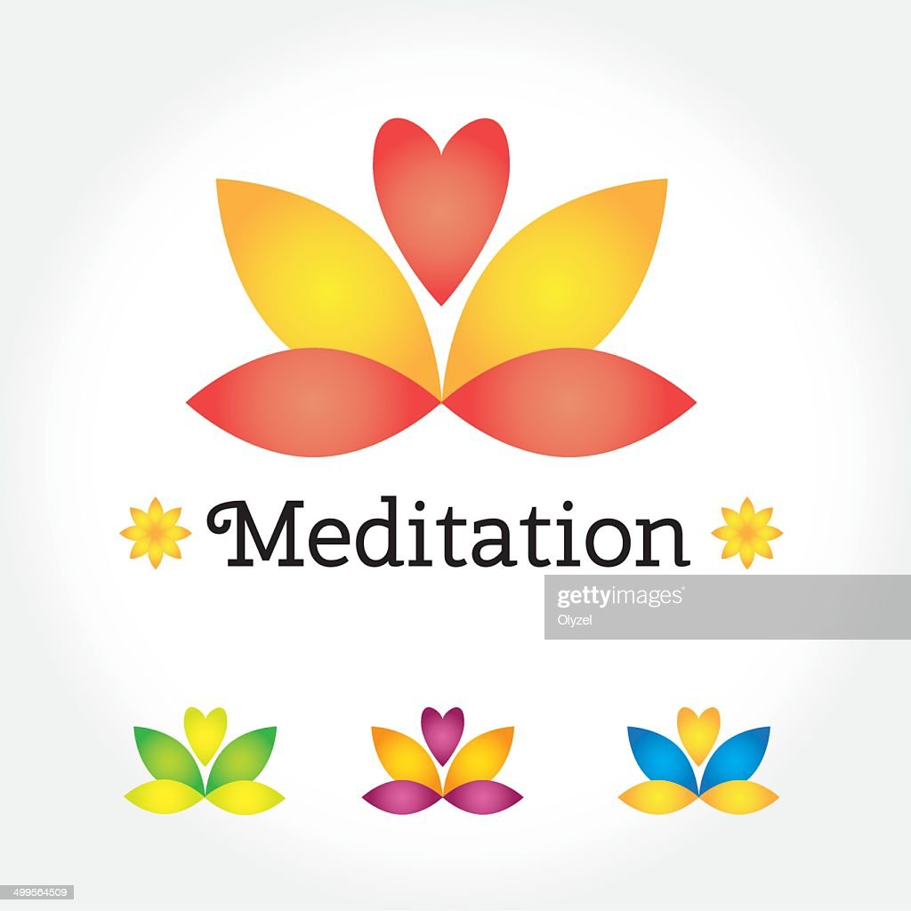 Meditation yoga sign lotus flower in different colors with heart meditation yoga sign lotus flower in different colors with heart vector art izmirmasajfo