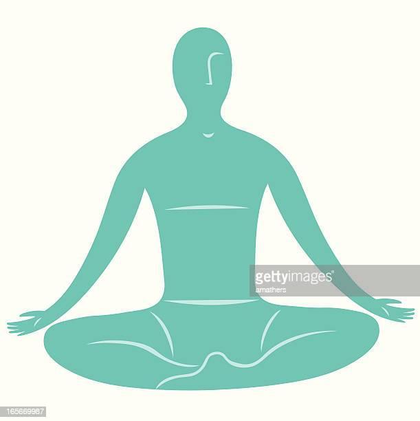 meditator - inhaling stock illustrations