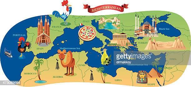 mediterranean  cartoon map - cannes stock illustrations, clip art, cartoons, & icons