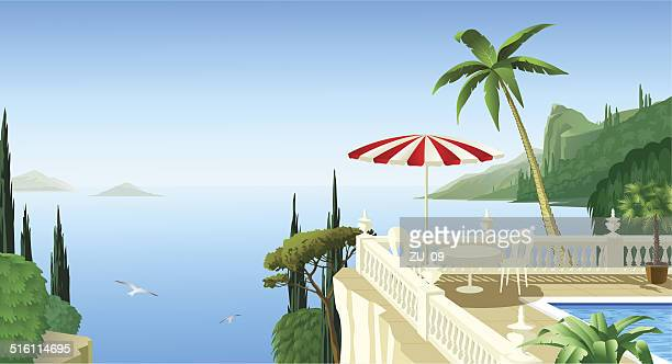 mediterranean landscape with a terrace, a beautiful place to relax - greek islands stock illustrations, clip art, cartoons, & icons