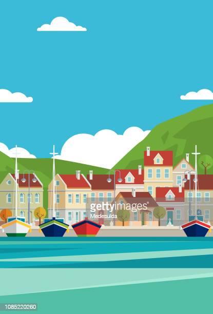 illustrations, cliparts, dessins animés et icônes de vecteur de la mer méditerranée - bateau de plaisance