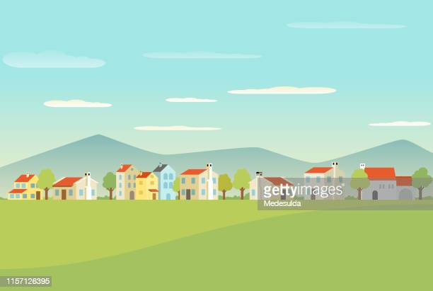 mediterranean town with houses - village stock illustrations