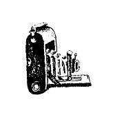 Medium format retro camera hand drawn isolated on white