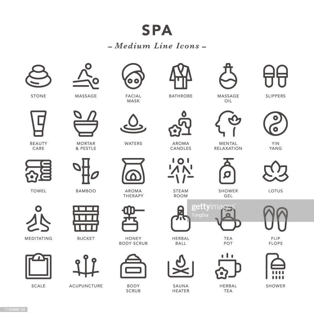 SPA - Medium Line Icons : stock illustration