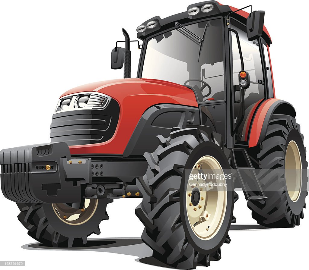 Medium sized red tractor with headlights and massive tires