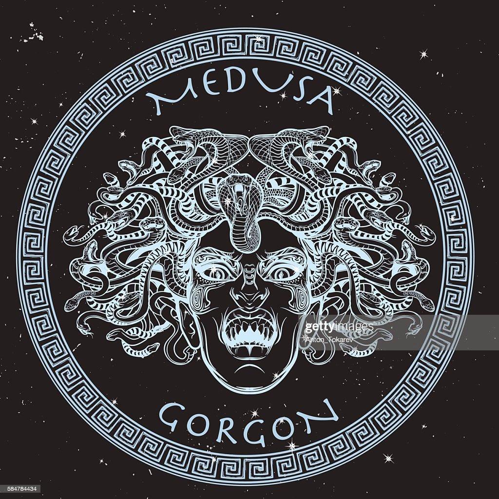 Medusa Gorgon sketch on a black nightsky background
