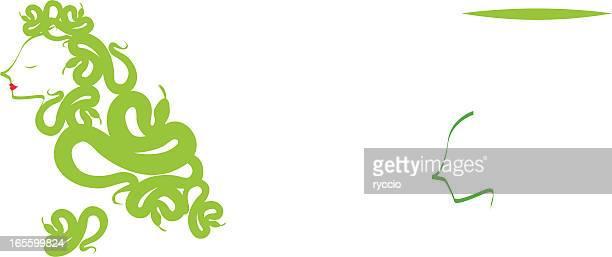 medusa profile - the grass is always greener stock illustrations, clip art, cartoons, & icons
