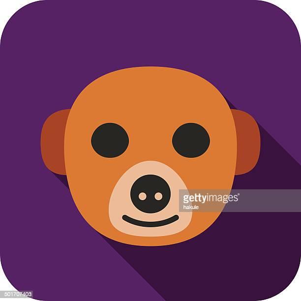illustrazioni stock, clip art, cartoni animati e icone di tendenza di icone animali faccia - mangusta