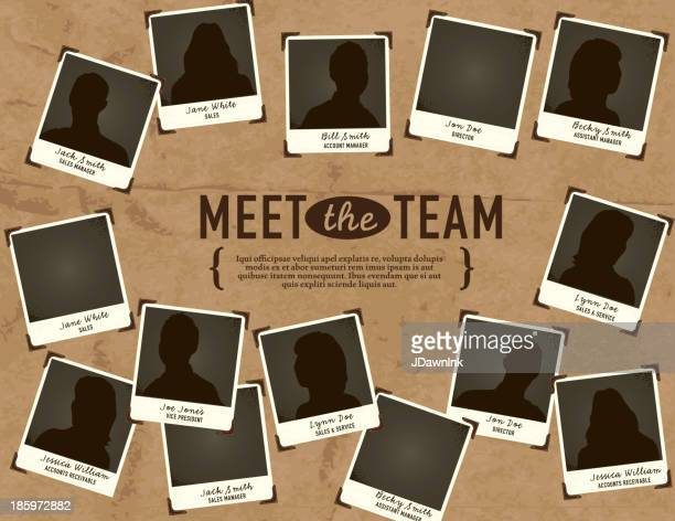 'meet the team' portrait concept template - corporate hierarchy stock illustrations, clip art, cartoons, & icons
