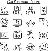 Meeting & Conference icon set in thin line style