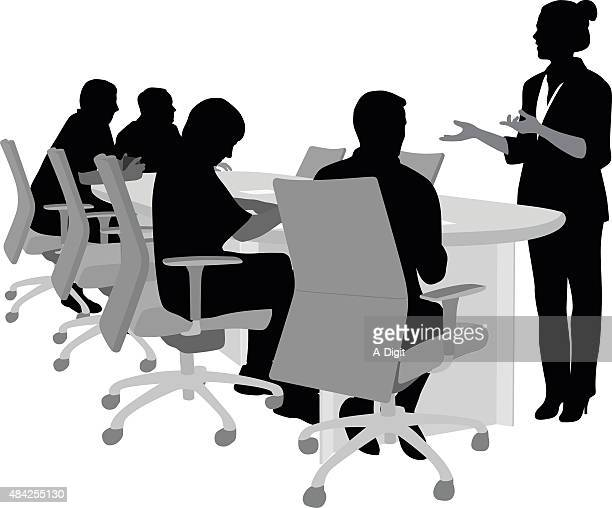 meeting explanation - conference table stock illustrations, clip art, cartoons, & icons