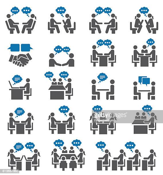 meeting icon set - conference table stock illustrations, clip art, cartoons, & icons