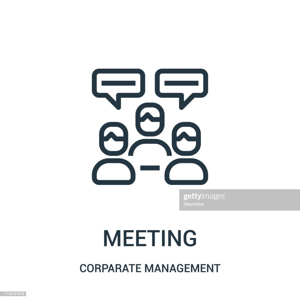 meeting icon vector from corparate management collection. Thin line meeting outline icon vector illustration. Linear symbol for use on web and mobile apps, logo, print media.