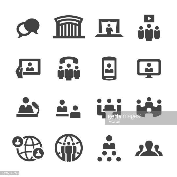 meeting icons - acme series - video conference stock illustrations