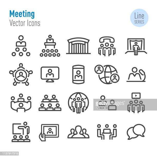meeting icons - vector line series - video conference stock illustrations
