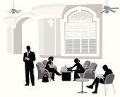Meeting In The Lobby Vector Silhouette