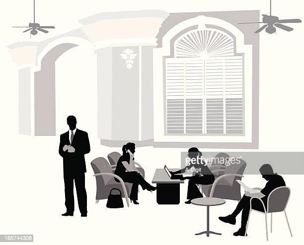 meeting in the lobby vector silhouette - entrance hall stock illustrations, clip art, cartoons, & icons