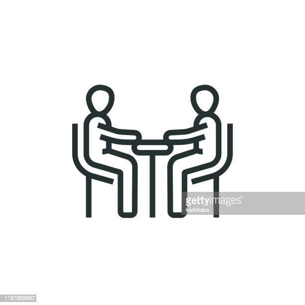 besprechungsliniensymbol - umschulung stock-grafiken, -clipart, -cartoons und -symbole