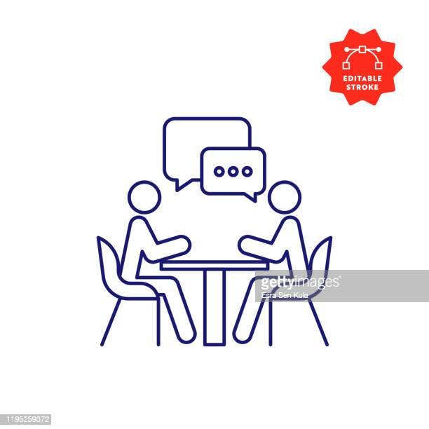 meeting line icon mit editierbarem strich und pixel perfekt. - dünn stock-grafiken, -clipart, -cartoons und -symbole