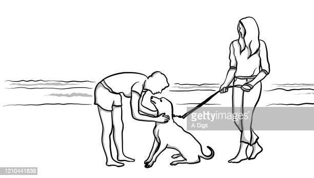 meeting owners and pets - shorts stock illustrations