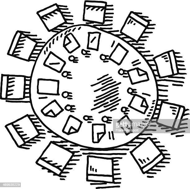 meeting round table drawing - conference table stock illustrations, clip art, cartoons, & icons