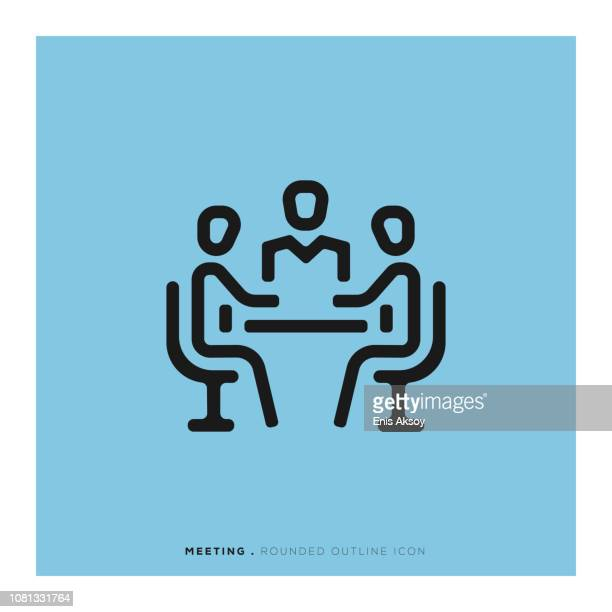 meeting rounded line icon - sitting stock illustrations