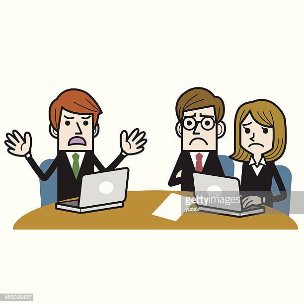 bad meeting - office fight stock illustrations, clip art, cartoons, & icons