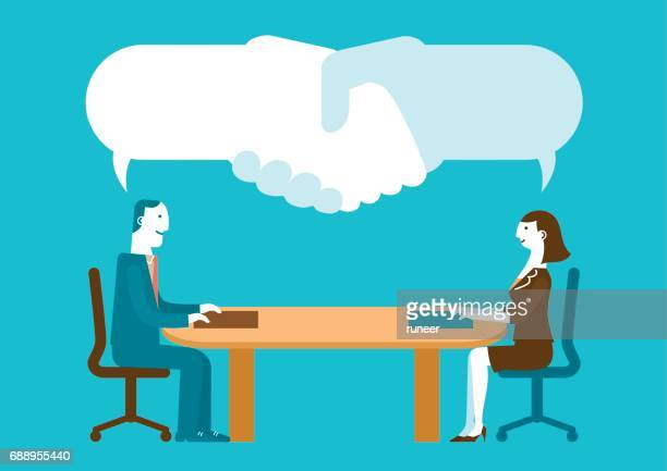 meeting with handshake speech bubbles | new business concept - job interview stock illustrations, clip art, cartoons, & icons