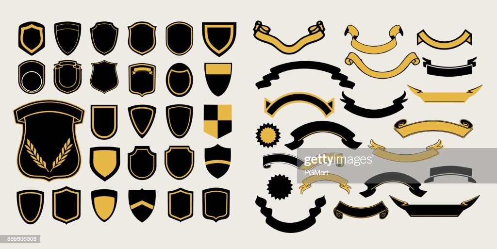 Mega a set of templates. Chevrons and ribbons for the design of logos, emblems and labels