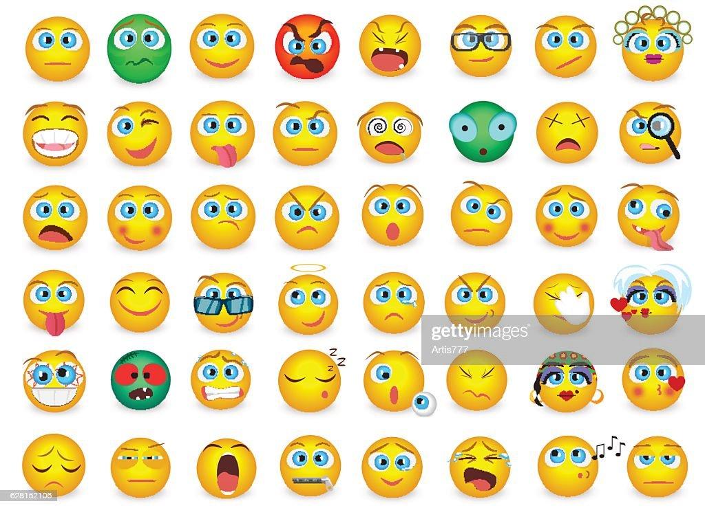 Mega big collection set of Emoji face emotion icons isolated