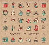Mega Christmas icons set, Winter holiday symbols, Vintage retro style