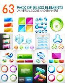 Mega pack of vector glass glossy design elements
