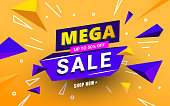 Mega sale banner template with polygonal 3D shapes and text for special offers, sales and discounts. Promotion and shopping template for Black Friday 50 off