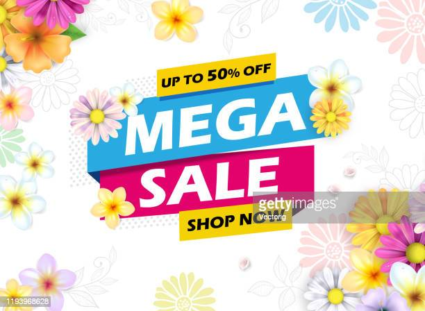 mega sale banner - springtime stock illustrations