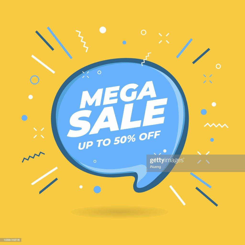Mega Sale speech bubble shaped banners.