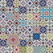 Mega seamless patchwork pattern. Colorful Moroccan, Portuguese  tiles, Azulejo, ornaments..