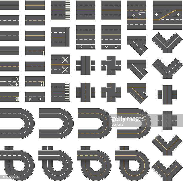 mega seamless road construction kit - overhead perspective - thoroughfare stock illustrations, clip art, cartoons, & icons