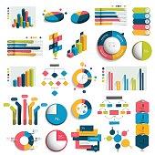 Mega Set of business 3D design graphs, charts, templates, schemes.