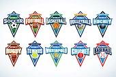 Mega set of colorful sports emblems soccer, football, basketball, volleyball, hockey, rugby, tennis, waterpolo, cricket, baseball.