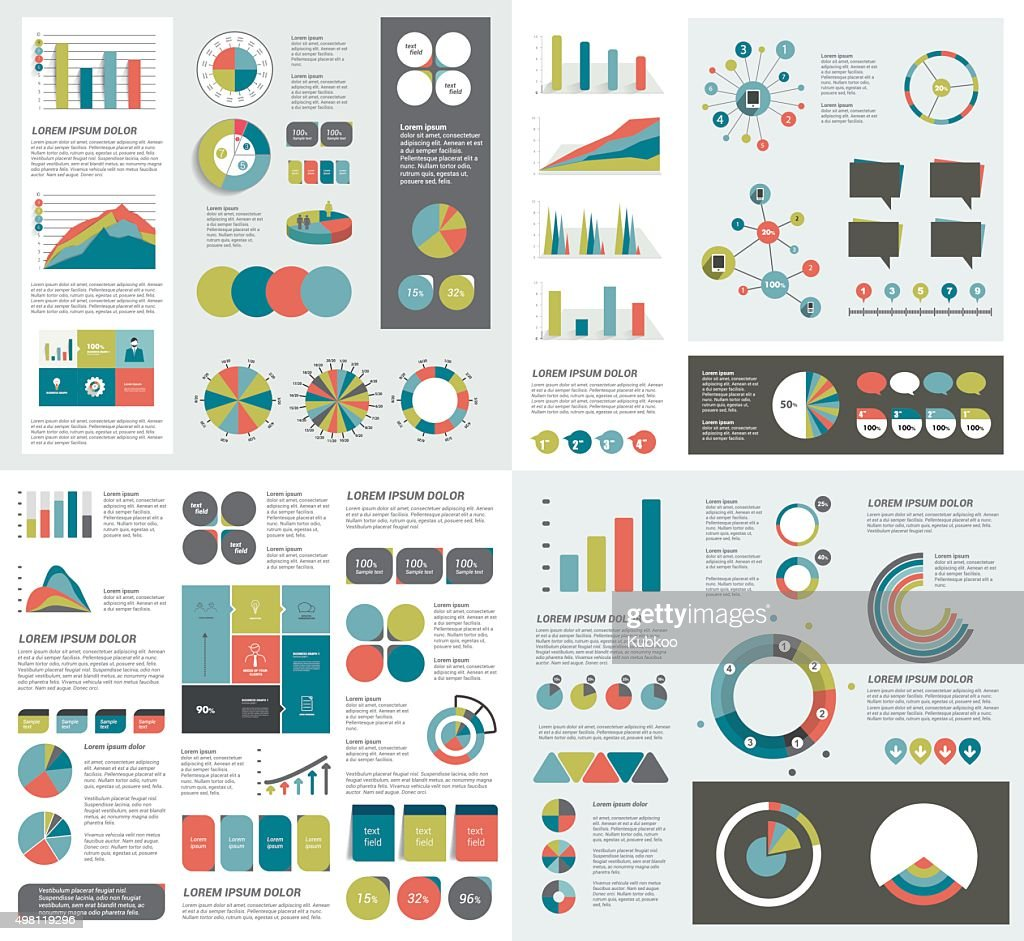 Mega set of infographics elements charts, graphs, circle charts, diagrams