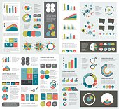 Mega set of infographics elements charts, graphs, circle charts, diagrams