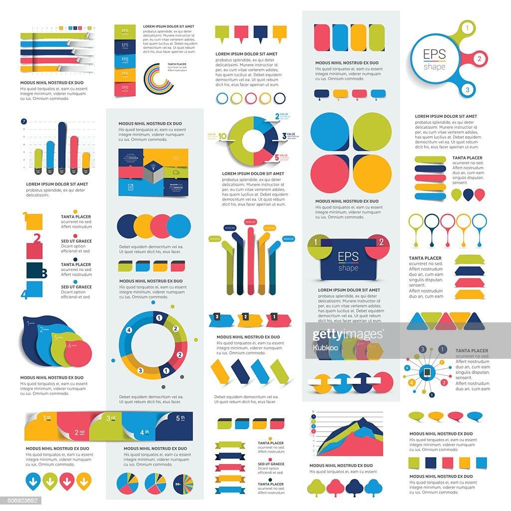 Mega set of infographics elements charts, graphs, circle charts, diagrams,