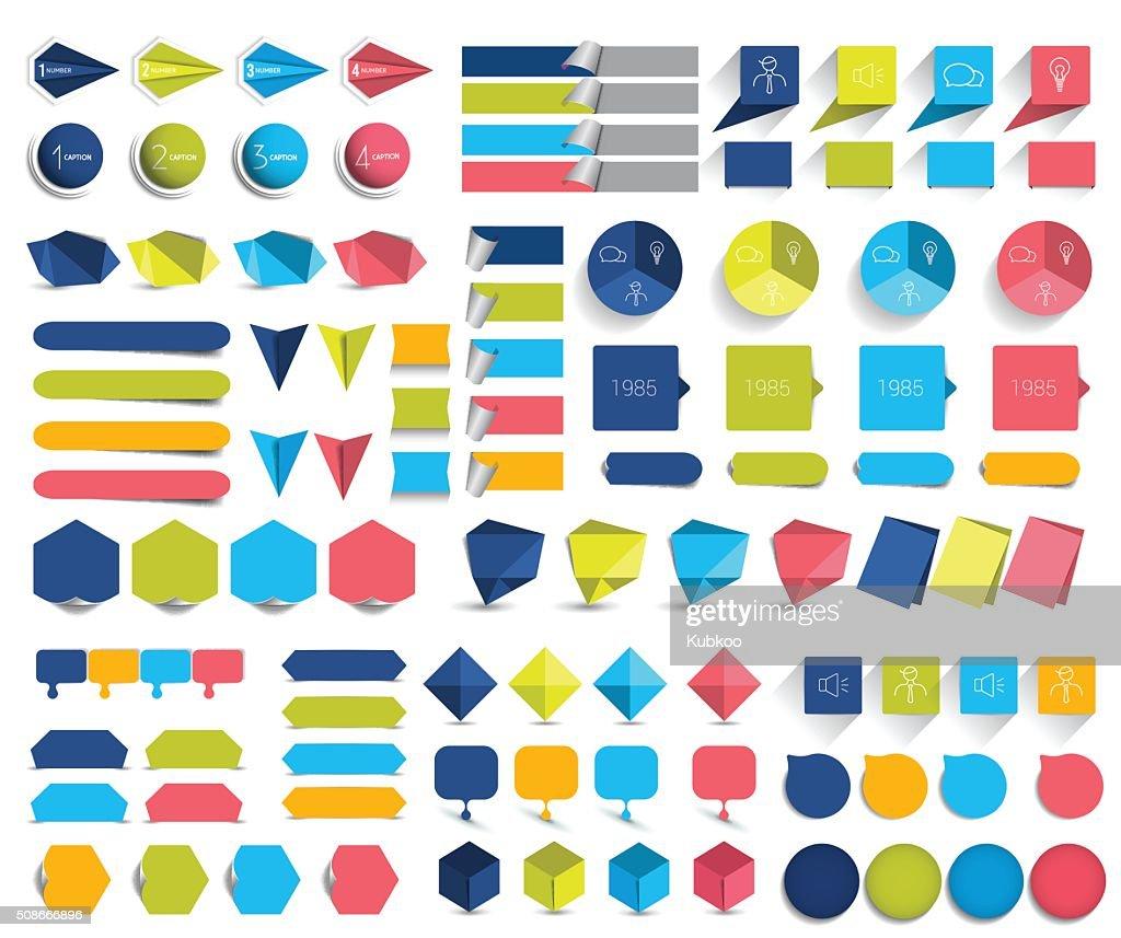 Mega set of infographics flat design elements, schemes