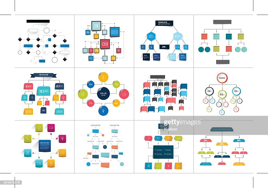 Mega set of various  flowcharts schemes, diagrams. Simply color editable